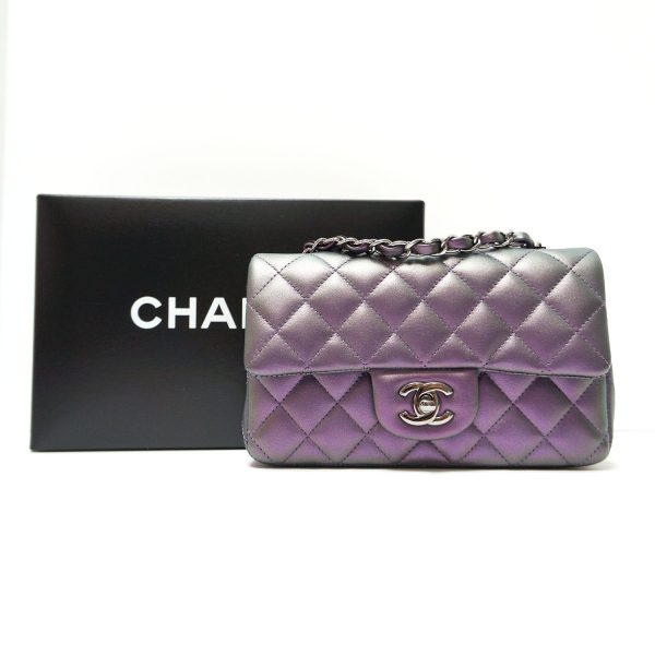 Chanel Iridescent Purple Quilted Leather Classic Mini Flap Crossbody Bag