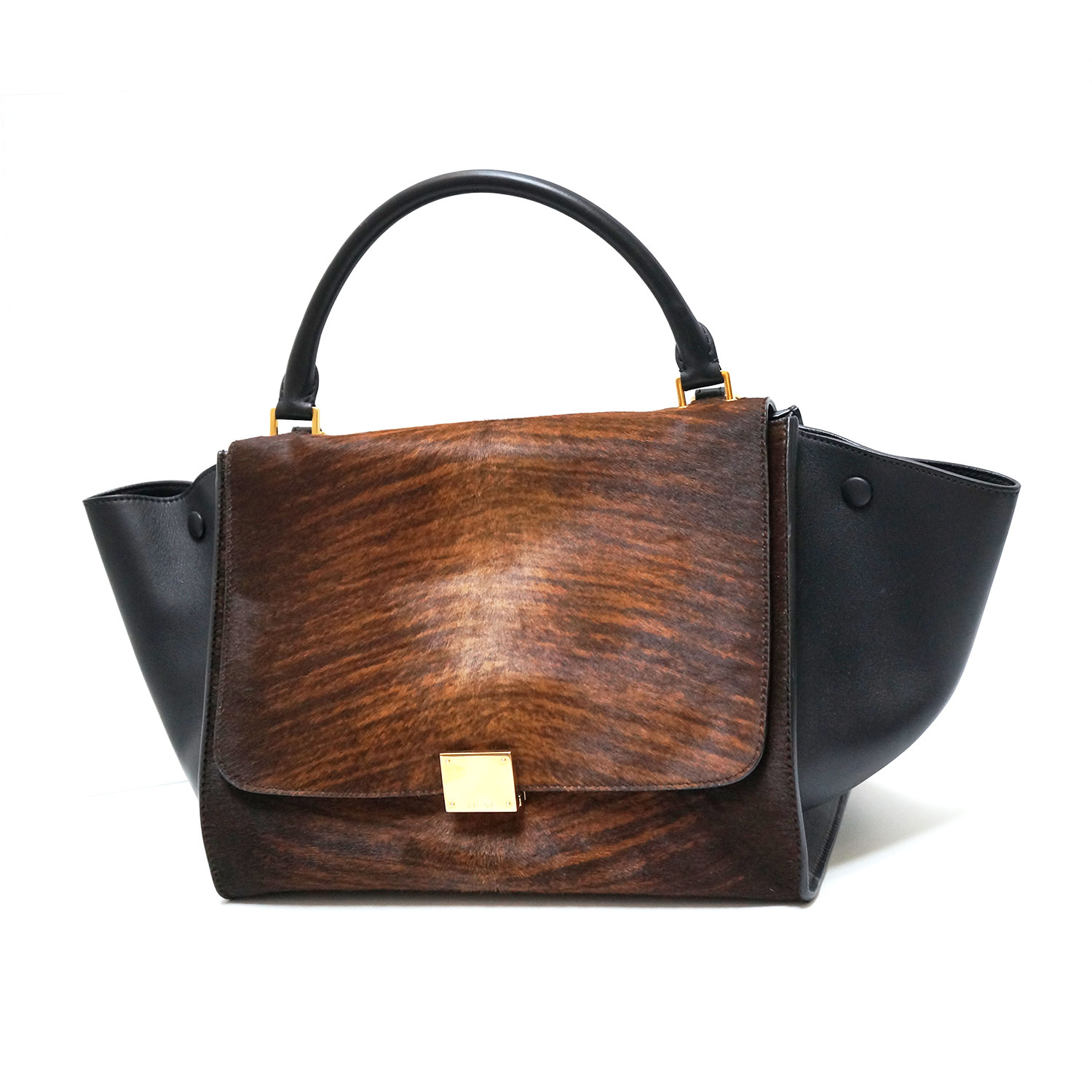 39c9cd985894 Celine Shaded Pony Hair Black Calfskin Leather Medium Trapeze Bag ...