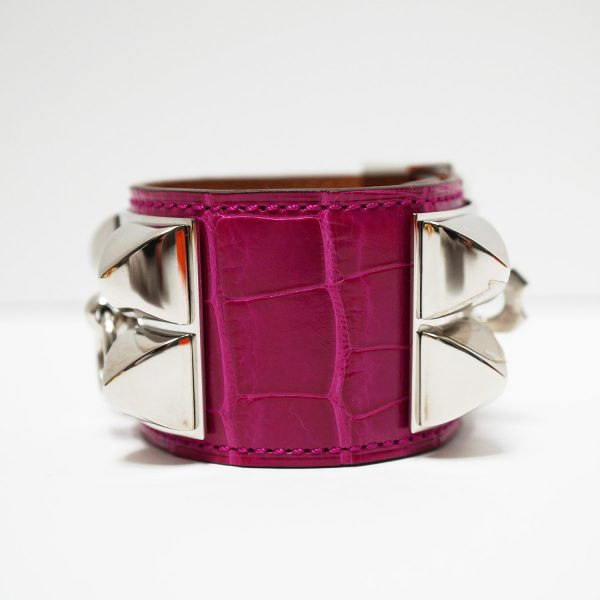Hermes Collier de Chien Rose Scheherazade Alligator Bracelet