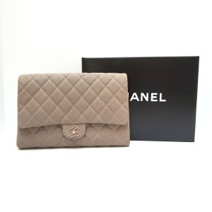 Chanel Grey Matte Caviar Quilted Leather Classic Flap Clutch Bag