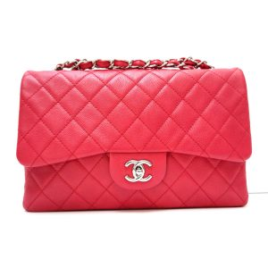Chanel Raspberry Red Washed Caviar Jumbo Flap
