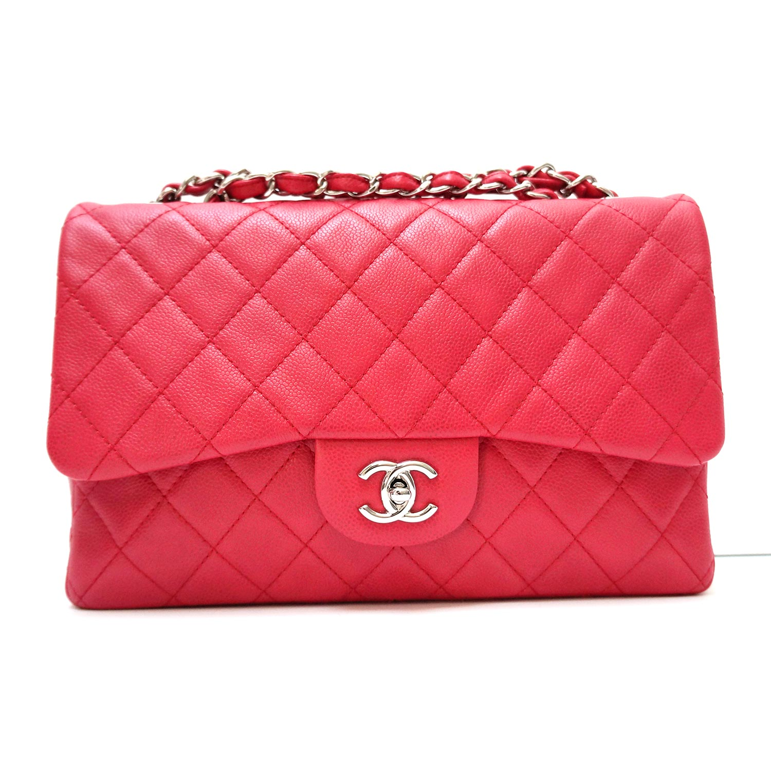 c00ed576dece Chanel Raspberry Red Washed Caviar Leather Classic Jumbo Single Flap ...
