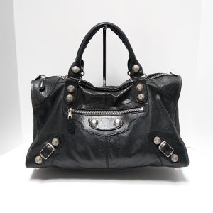 Balenciaga Giant 21 Silver Black Leather Work Bag