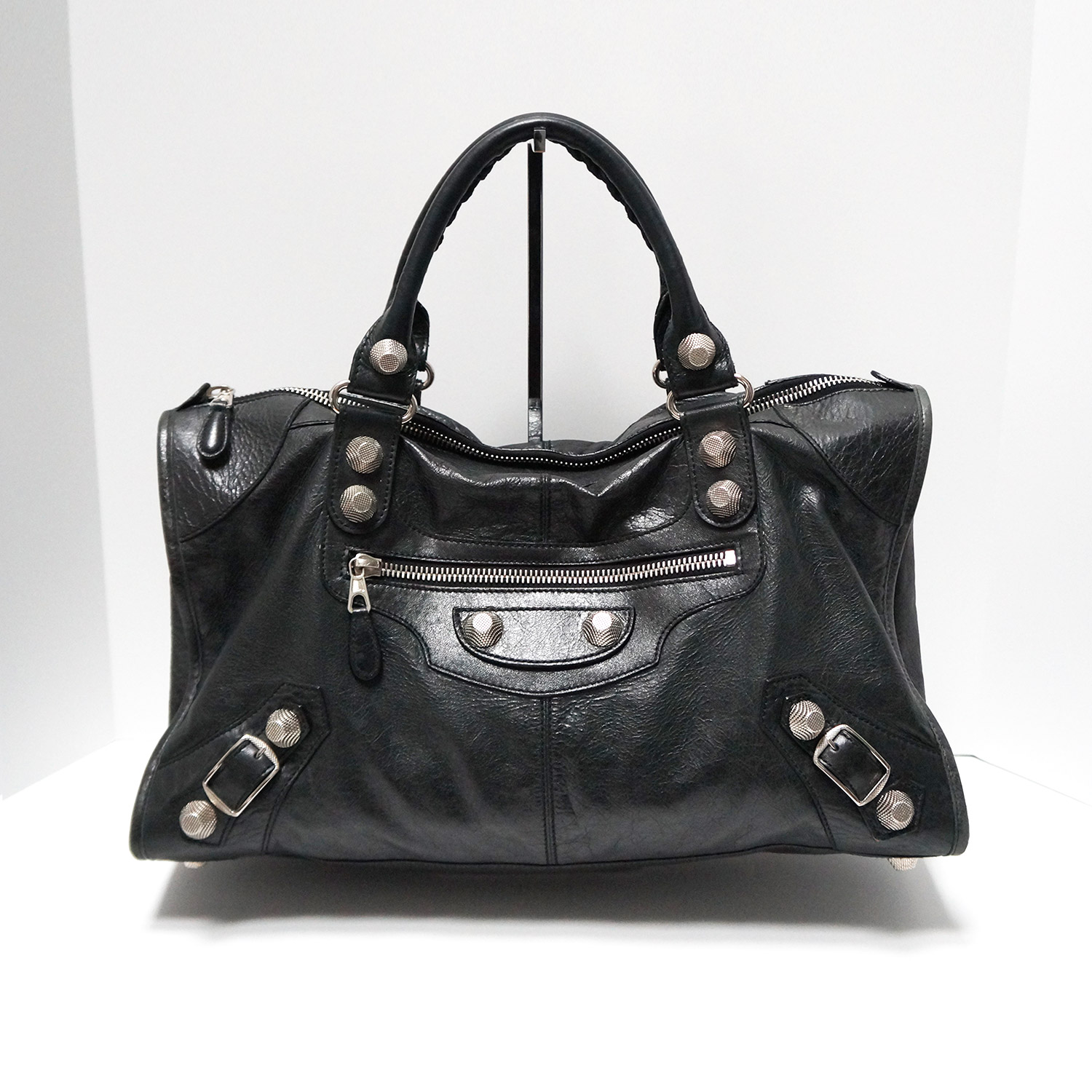 cb17dd3d6c7e Balenciaga Black Leather Classic Work Motorcycle Bag with Giant 21 ...