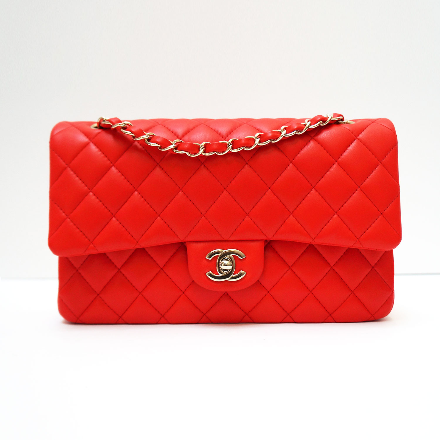 76f8dc9cf217 Chanel Red Lambskin Leather Classic Medium Double Flap Bag | | My ...
