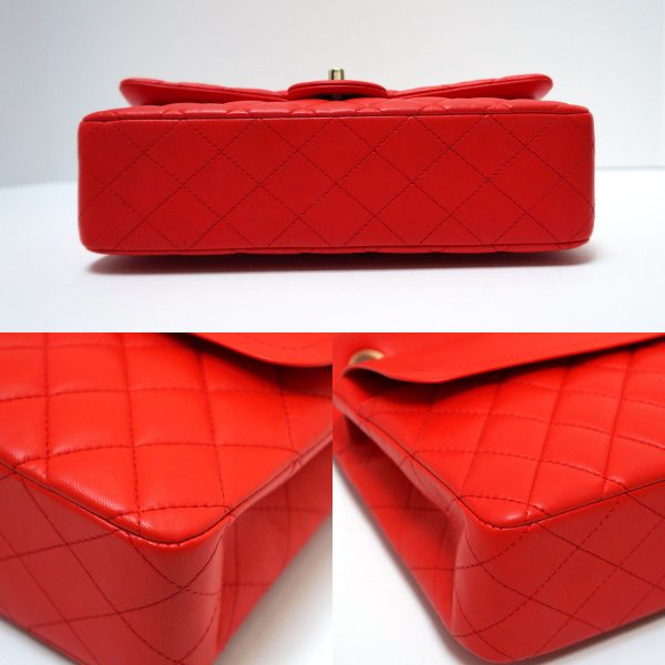 Chanel Red Lambskin Medium Classic Flap