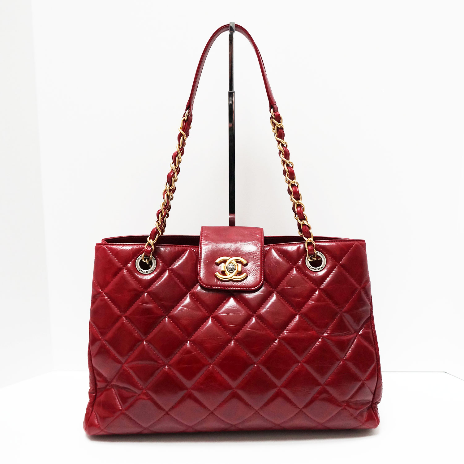 Chanel Burgundy Glazed Leather Gold Hardware CC Lock Tote Bag