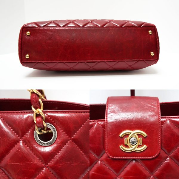 Chanel Burgundy Glazed Leather Twist Lock Tote Bag