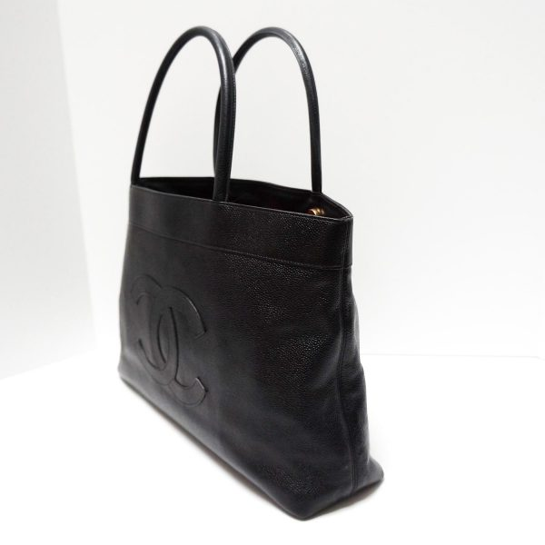 Chanel Vintage Black Caviar Leather Timeless Tote Bag