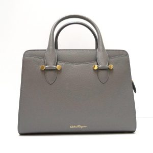 Salvatore Ferragamo Today Grey Saffiano Leather Small Messenger Satchel Bag