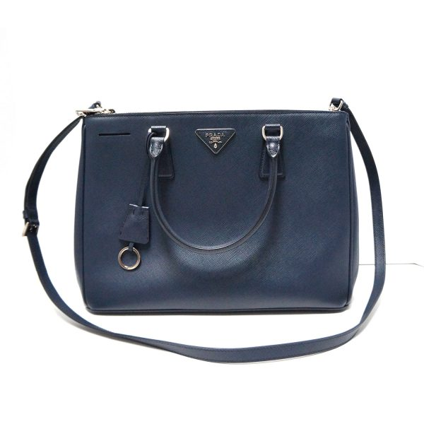 Prada Navy Saffiano Leather Double Zip Tote Bag