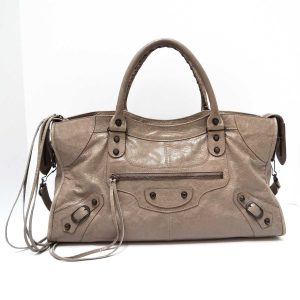 Balenciaga Taupe Leather Classic Part Time Bag