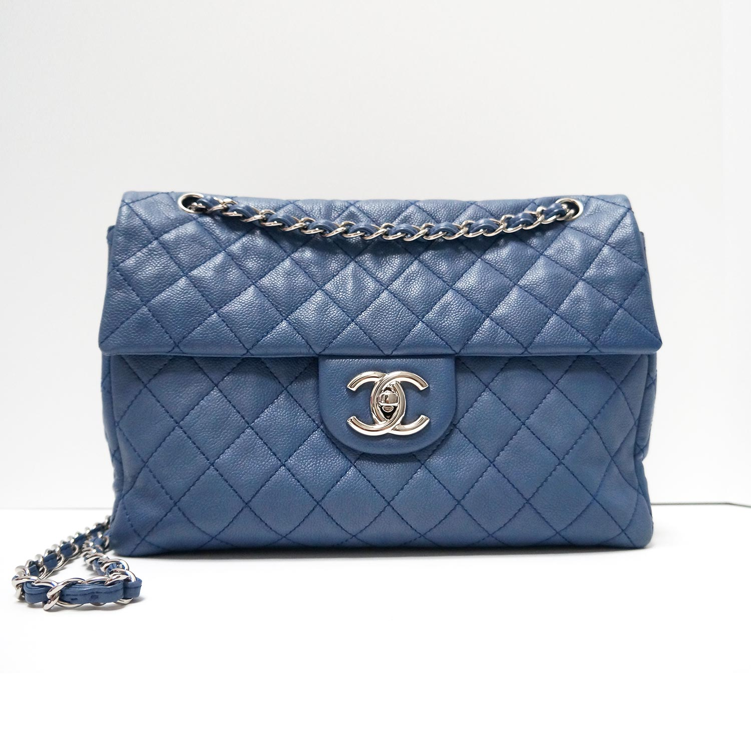 0ec83d9a8e45 Chanel Blue Jean Washed Caviar Soft Body Leather Maxi Flap Bag ...