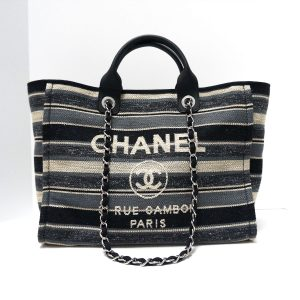 c221f0cd3511b5 Chanel Deauville Black Grey Striped Tweed Canvas Tote