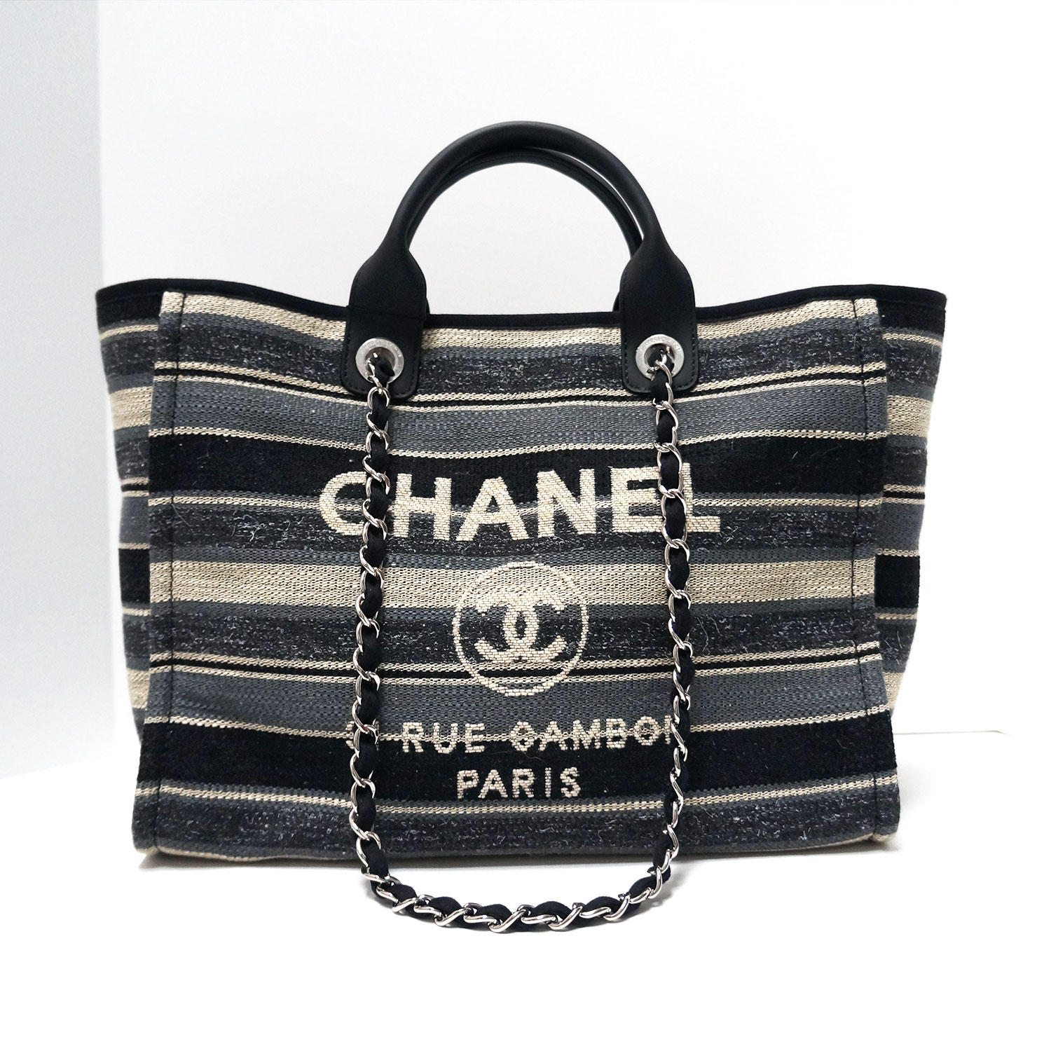 c8ae9497c7ad Chanel Deauville Black Grey Striped Tweed Canvas Tote | | My ...