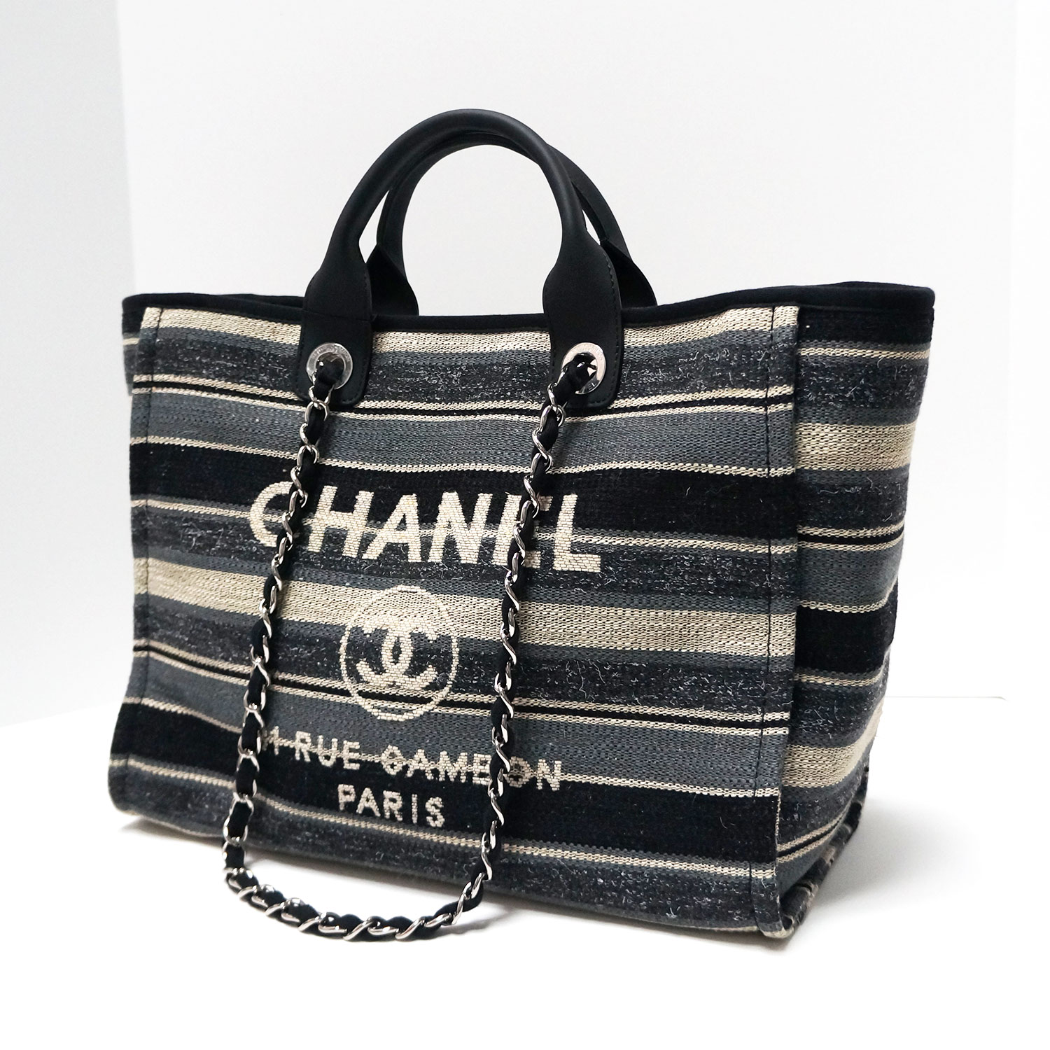1d92fd730846 Chanel Deauville Black Grey Striped Tweed Canvas Tote | | My ...