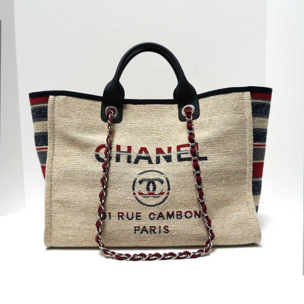 Chanel Deauville Red Blue Striped Natural Canvas Tweed Tote