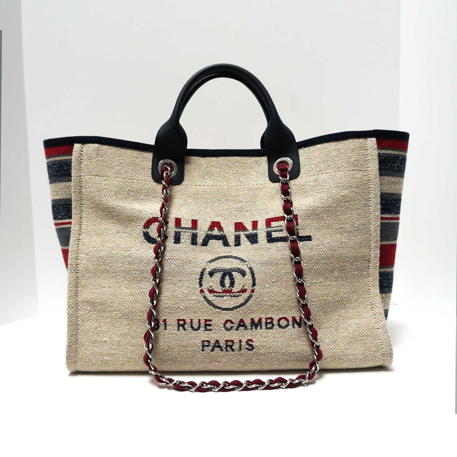 09dd267408cb5d Chanel Deauville Red Blue Striped Natural Canvas Tweed Tote | | My ...