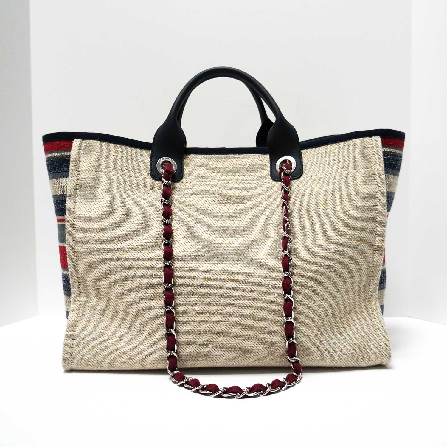 64a37d200f Chanel Deauville Red Blue Striped Natural Canvas Tweed Tote | | My ...