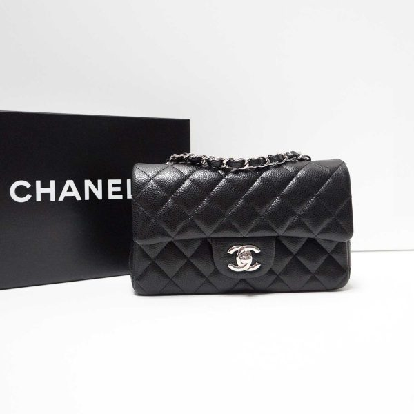Chanel Black Caviar Leather Classic Mini Flap Bag