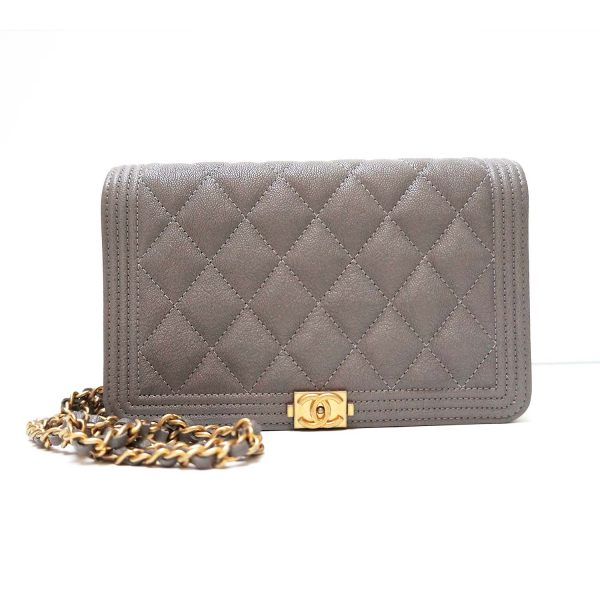 Chanel Le Boy Wallet-on-a-Chain WOC Grey Grained Leather Crossbody Bag