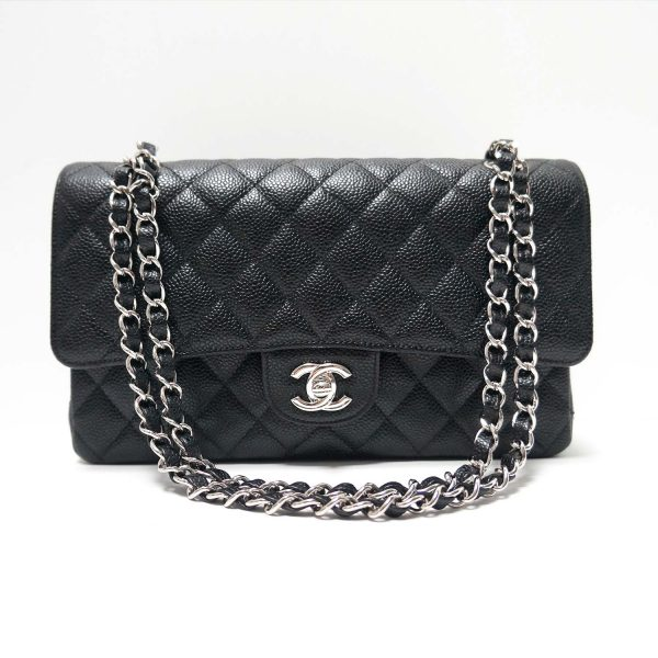 Chanel Black Caviar Leather Classic Medium Flap Bag