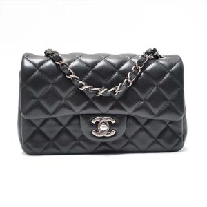 Chanel Black Lambskin Leather Classic Mini Crossbody Flap Bag