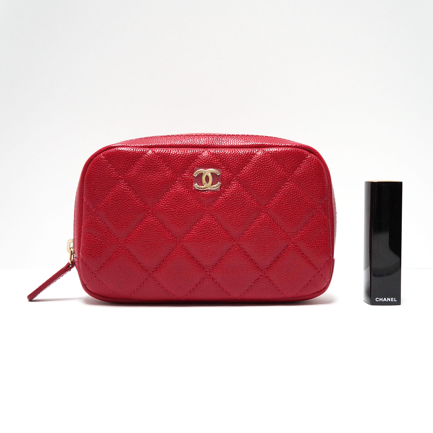 9d89c38974ecca Chanel Red Caviar Leather Quilted Makeup Case Clutch Bag My
