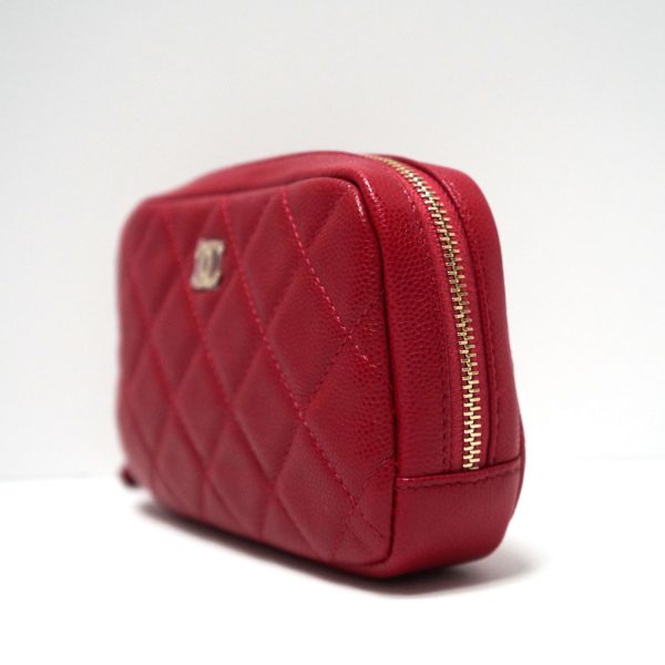 Chanel Red Caviar Leather Quilted Makeup Case Clutch Bag
