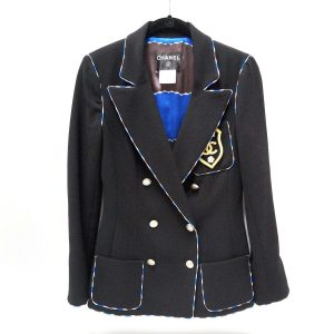 Chanel Coco Badge Black Wool Blazer