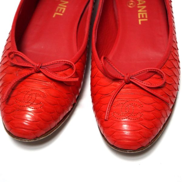 Chanel Red Python Leather CC Ballet Slippers Size 39