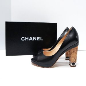 Chanel Black Leather Cork Heel Peep Toe Pumps