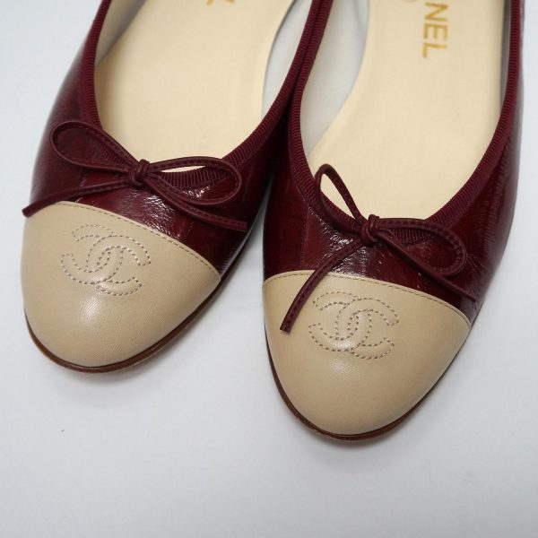 Chanel Burgundy Eel Skin Beige Leather Ballet Slippers Size 39