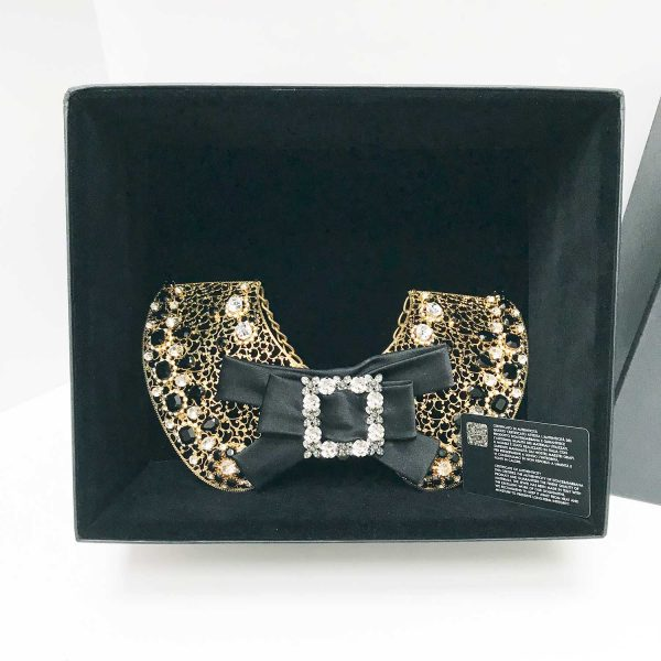 Dolce & Gabbana Gold Metal Lace Crystal Embellished Bow Collar Necklace