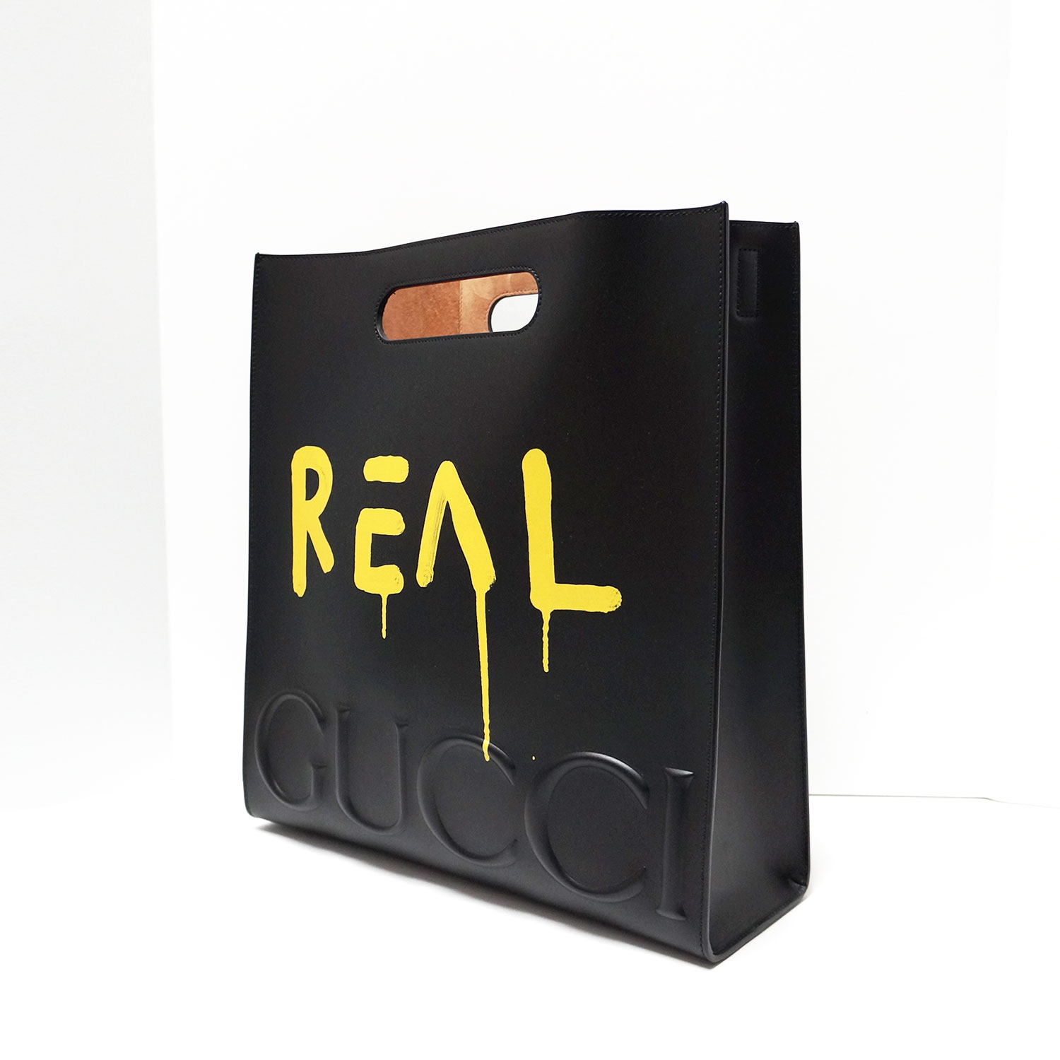 d47c3ecb1 Gucci Ghost Yellow GG Graffiti Black Leather Tote | | My Personal ...