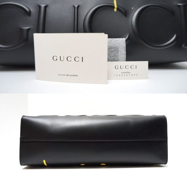Gucci Ghost Yellow GG Graffiti Black Leather Tote Bag