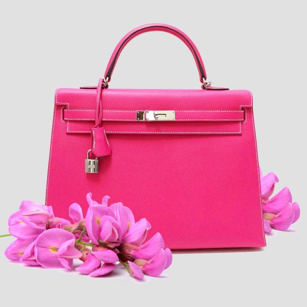 Hermes Kelly 35 Bag Rose Tyrien Pink Epsom Leather