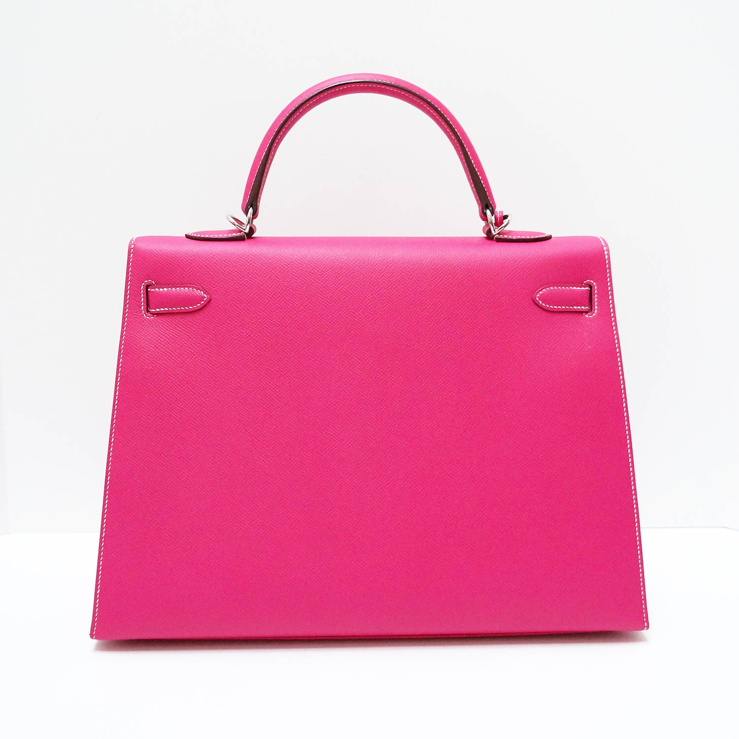63f688564373a Details about HERMES Kelly 35 Sellier Rose Tyrien Pink Epsom Leather  Palladium Hardware Bag