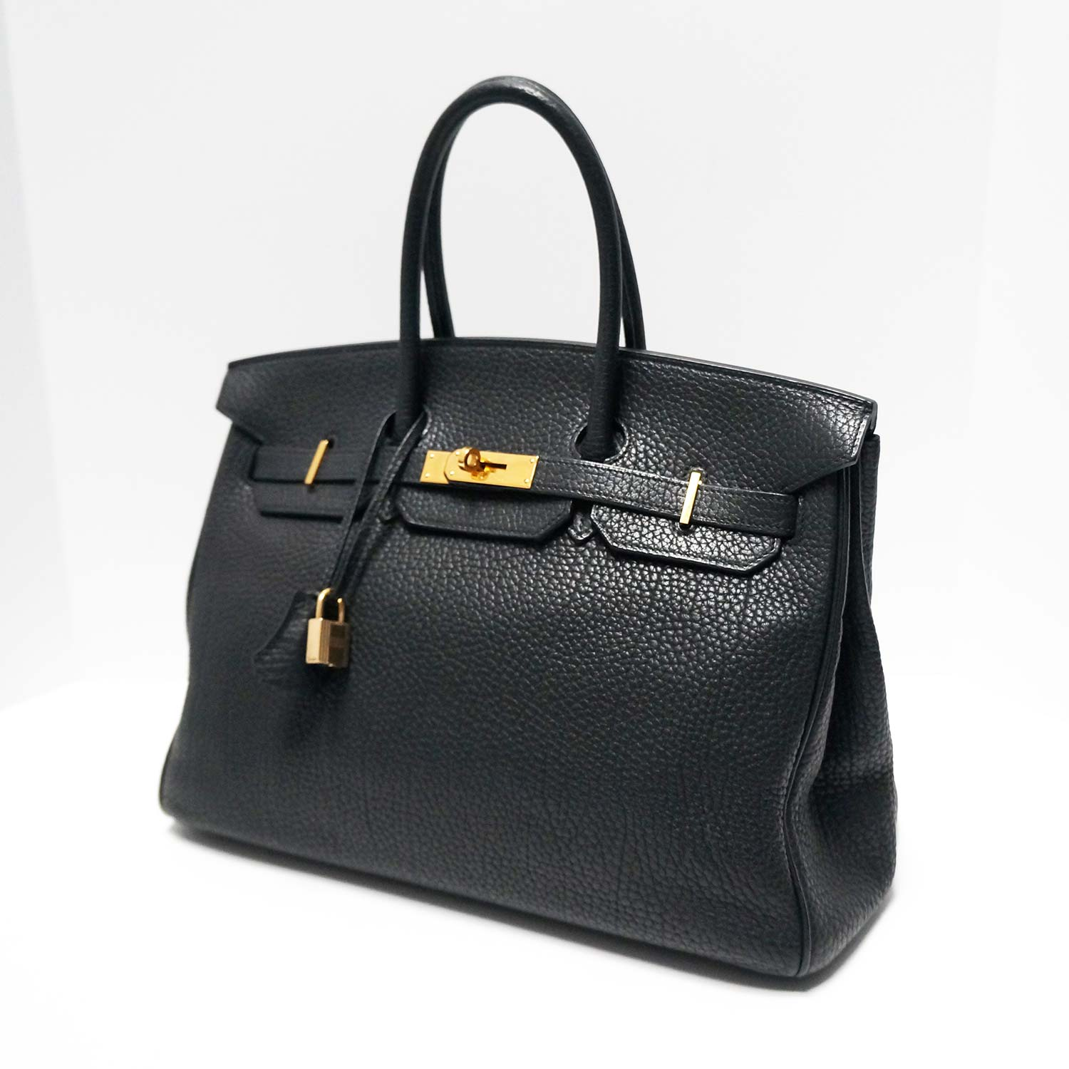 15db1b7f6707 Hermes Black Fjord Leather Gold Hardware 35cm Birkin Bag
