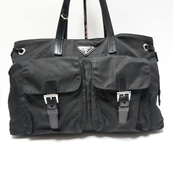 Prada Tessuto Nero Black Nylon Vela Shopping Tote Bag