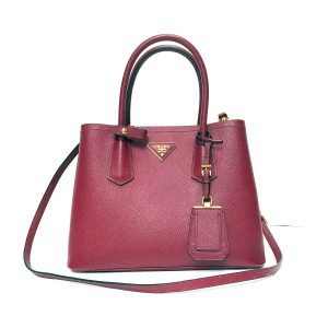 Prada Dk Red Saffiano Leather Execute Tote Bag