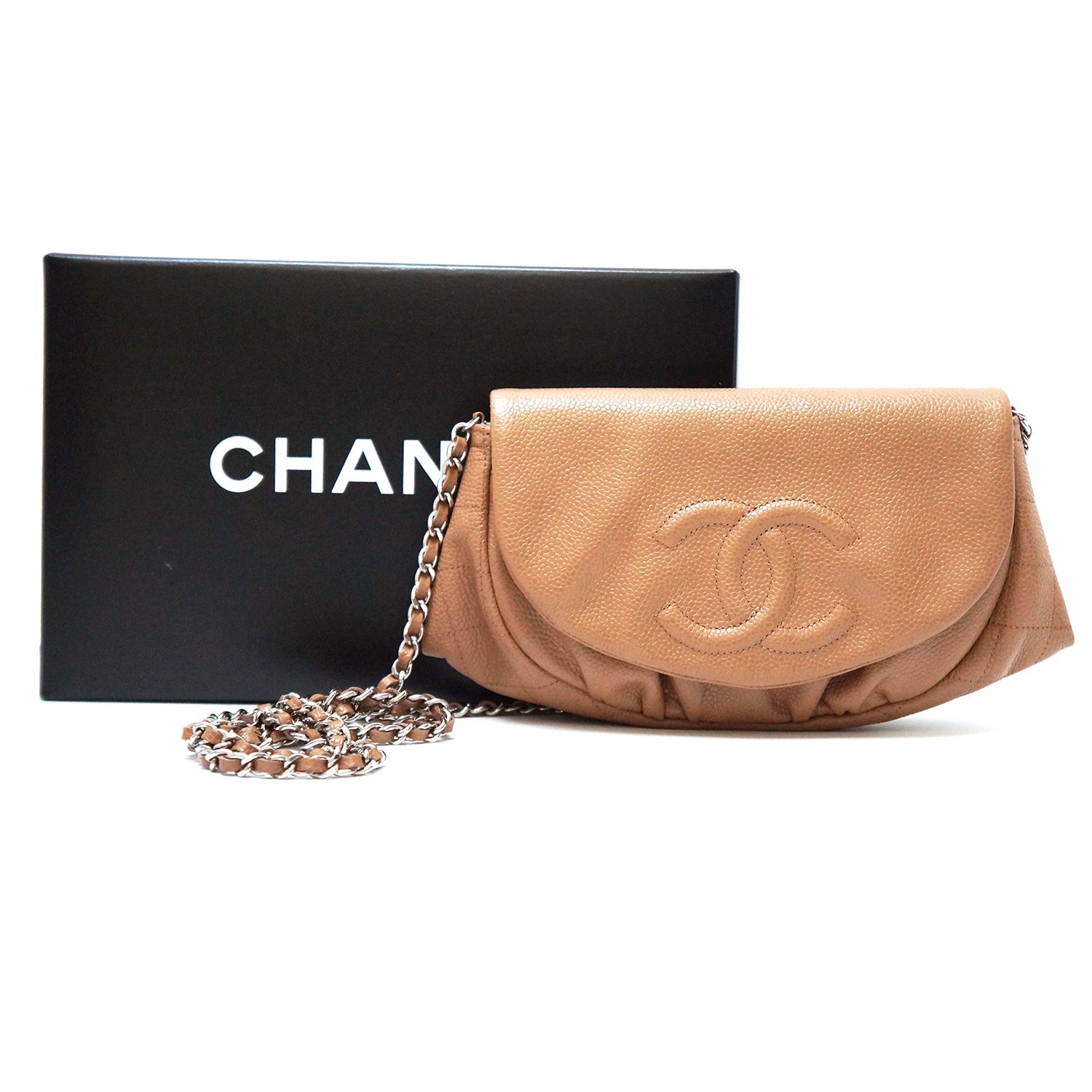 8090baa129e5 Chanel Half Moon Wallet-on-a-Chain WOC Taupe Caviar Leather ...