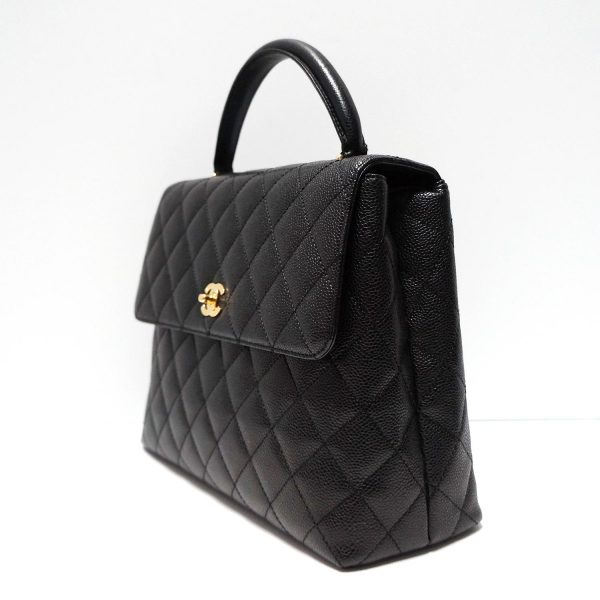 Chanel Black Caviar Leather Vintage Kelly Bag