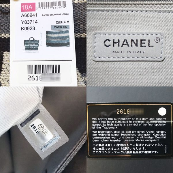 Chanel Deauville Black Grey Striped Tweed Canvas Tote
