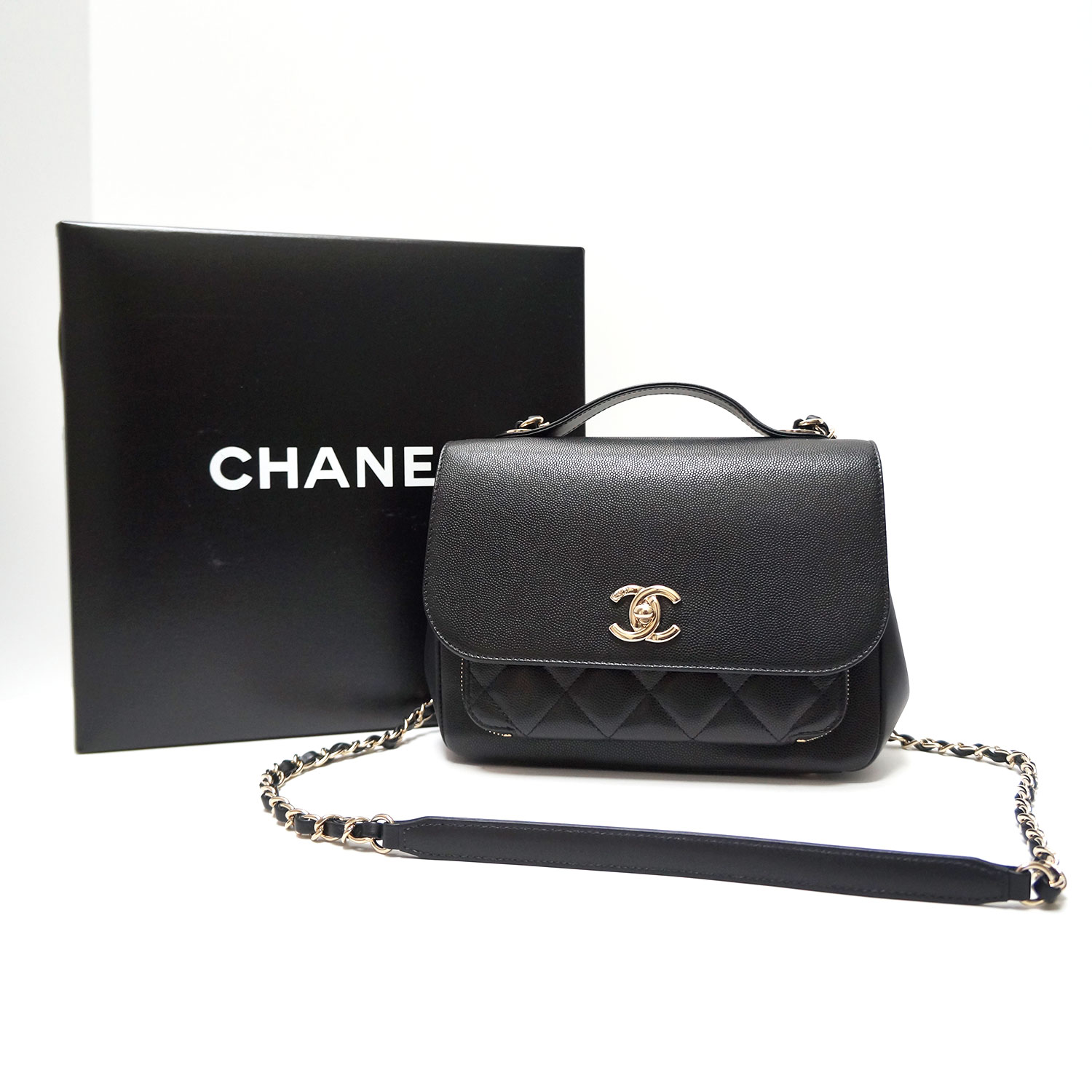 2b6b72e78fb1 Chanel Business Affinity Black Caviar Leather Crossbody Top Handle ...
