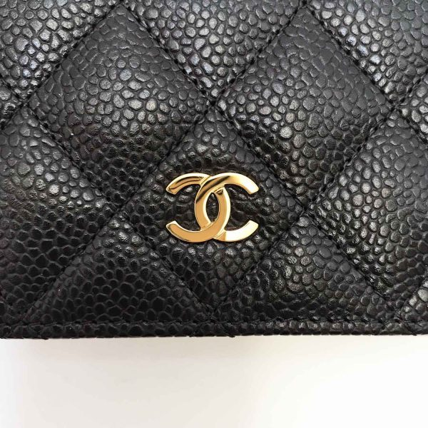 Chanel L Yen Black Caviar Leather Wallet