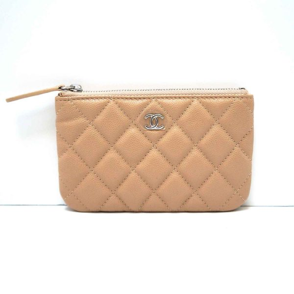 Chanel Beige Caviar Leather O-Case Pouch Coin Purse