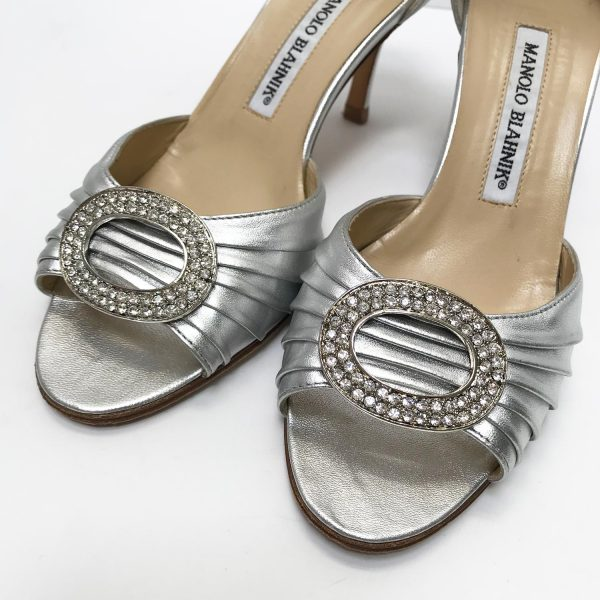 Manoho Blahnik Silver Leather Sedaraby D'Orsay Peep Toe Pumps Size 36.5