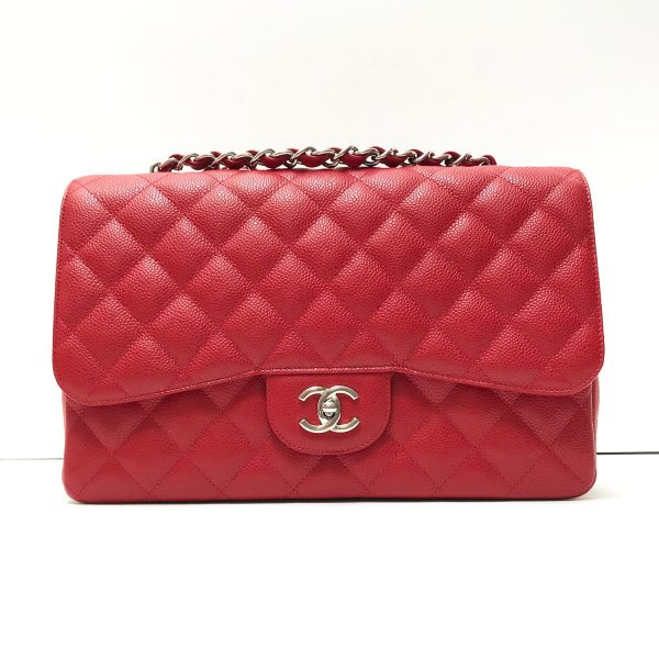 Chanel 10C Red Caviar Leather Classic Jumbo Single Flap Bag