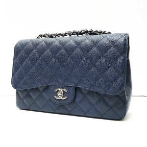 Chanel Navy Blue Caviar Leather Classic Jumbo Single Flap Bag